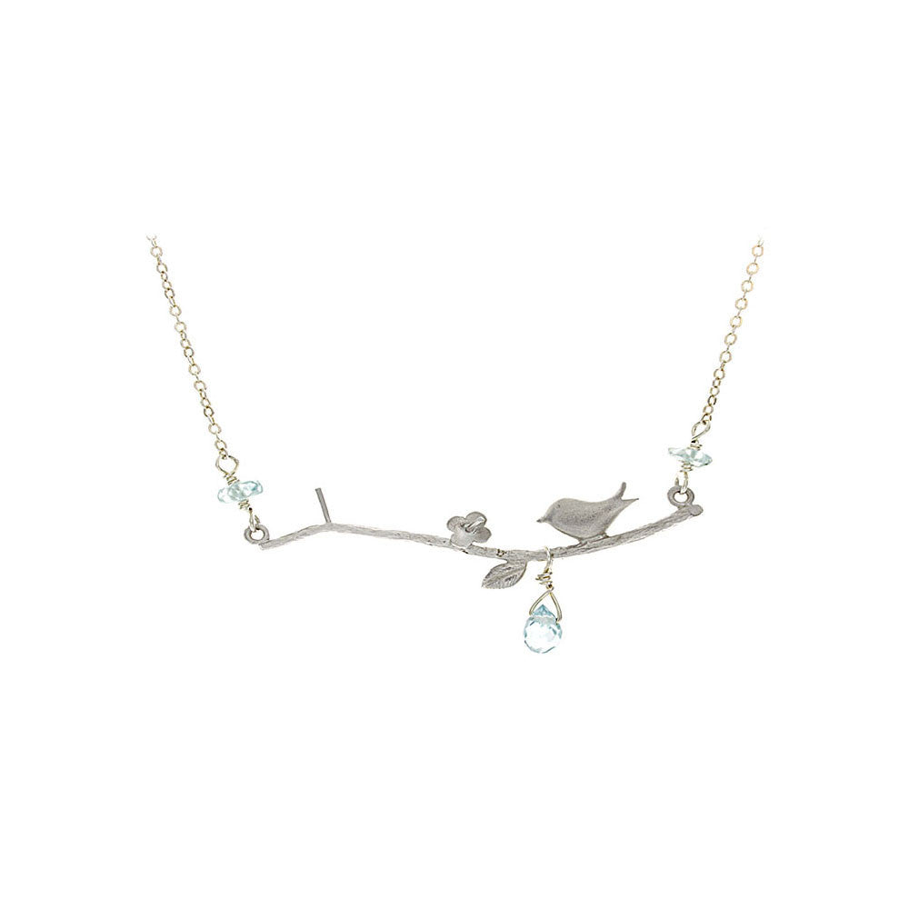 Blue Bird Zircon on Branch