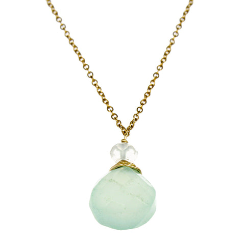 Green Chalcedny One Drop Necklace