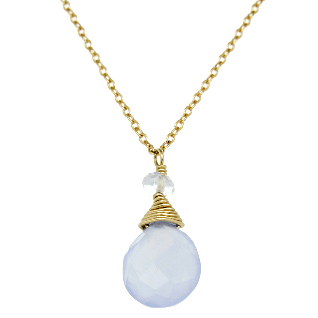 Lavender Blue Chalcedny One Drop Necklace
