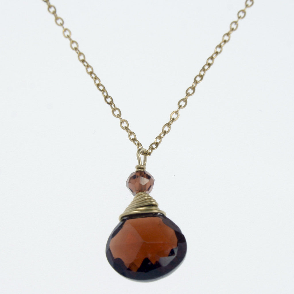 Garnet One Drop Necklace