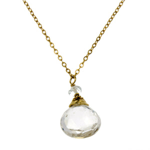 White Topaz One Drop Necklace