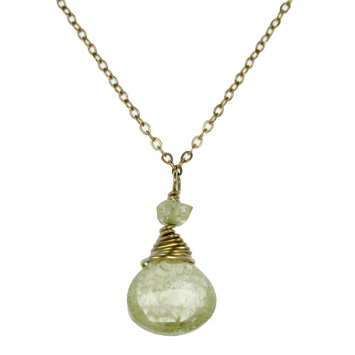 Green Garnet One Drop Necklace