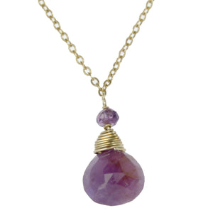Pink Sapphire One Drop Necklace
