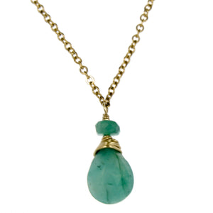 Emerald One Drop Necklace