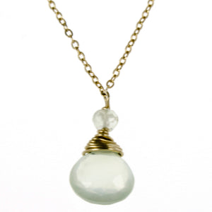 Green Prenite One Drop Necklace