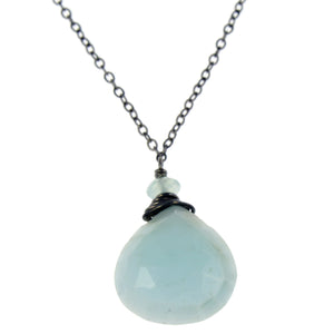 Blue Opal One Drop Necklace