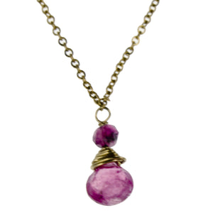 Pink Tourmaline One Drop Necklace
