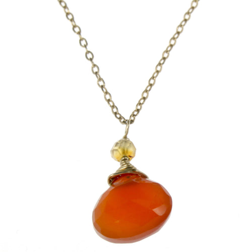 Orange Carnelian One Drop Necklace