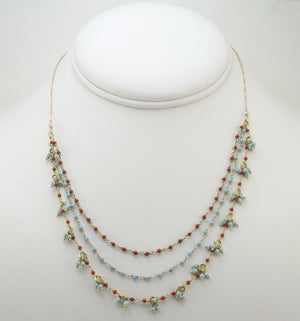 Turquoise & Coral 3 Layers Necklace