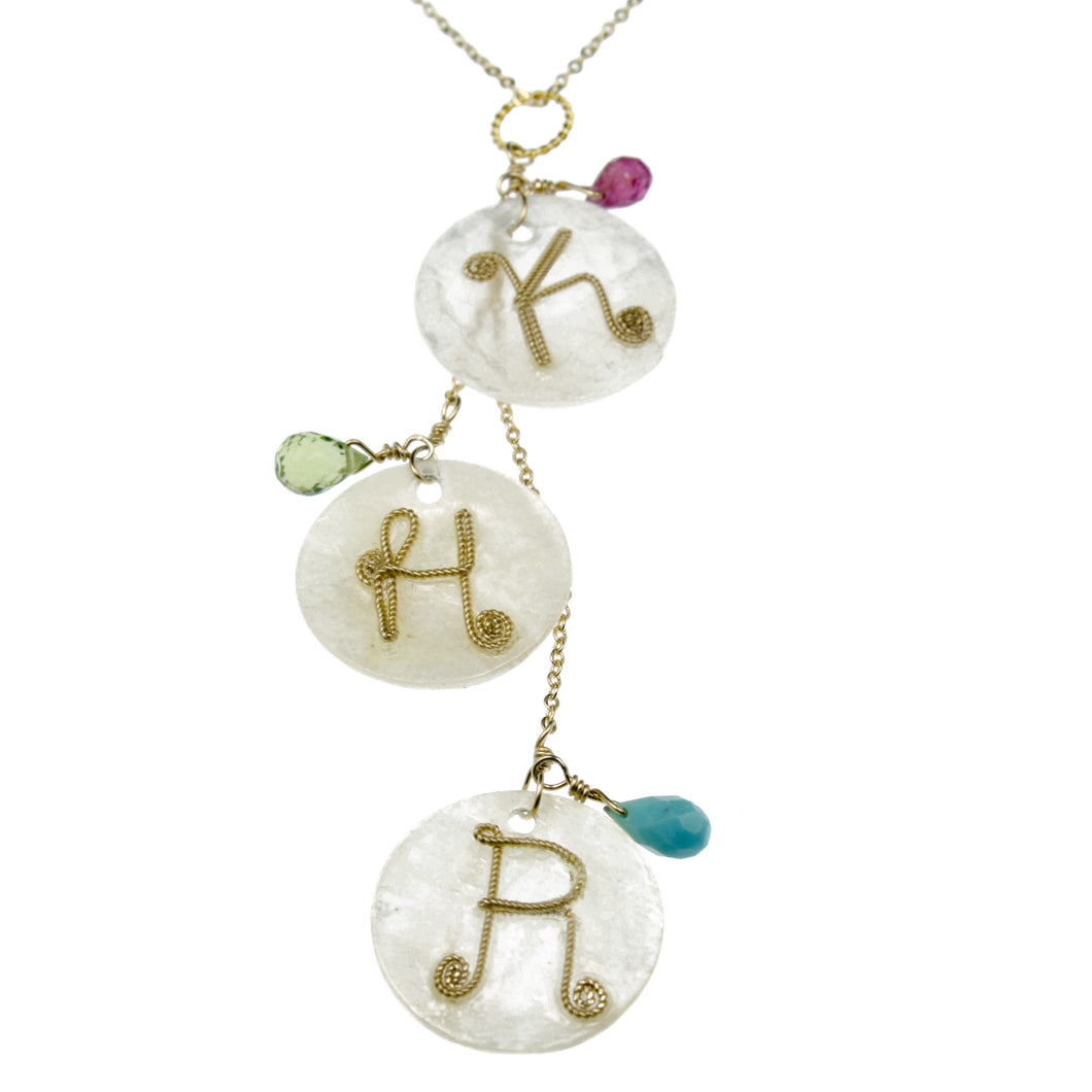 Mommy Necklace: Shell Disc & Birthstones