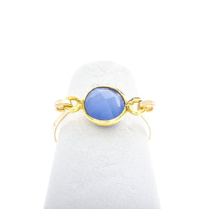 Small Round Gemstone Mid Ring