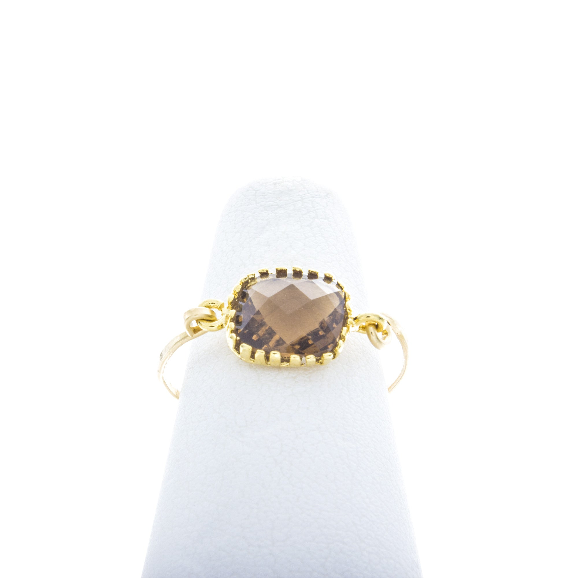 Square prong gemstone rings