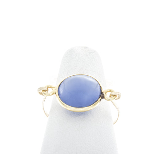 Round Smooth Lavender Blue Chalcedny Bezel Ring