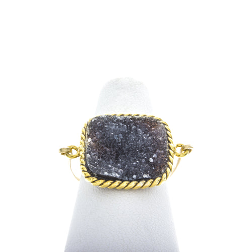 Large Square Druzy Rings