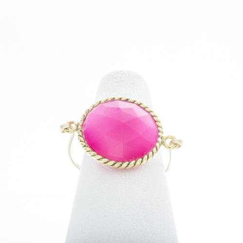 Large Round Hot Pink Quartz with Rope Bezel