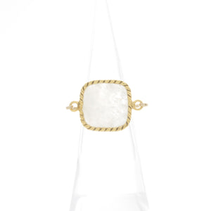 Square Medium Gemstone with Rope Bezel