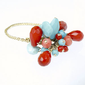 Turquoise & Coral Cluster Cocktail Ring