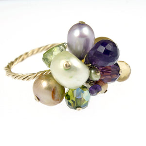Citrine, Peridot, Amethyst Cocktail Ring