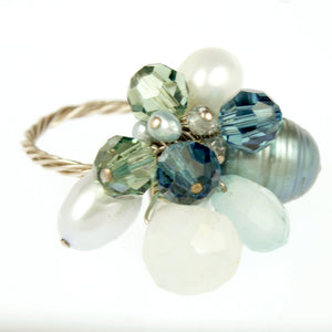 Blue Tones Cocktail Rings