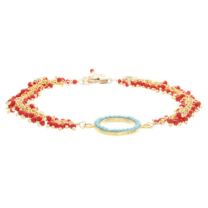 Turquoise Bezel and Coral Chain Bracelet - Gold Filled - Circle BR174