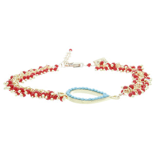 Turquoise Bezel and Coral Chain Bracelet - Gold Filled -Oval BR174