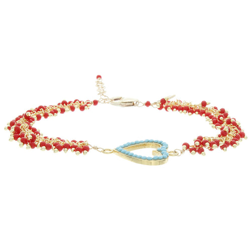 Turquoise Bezel and Coral Chain Bracelet - Gold Filled - Heart BR174
