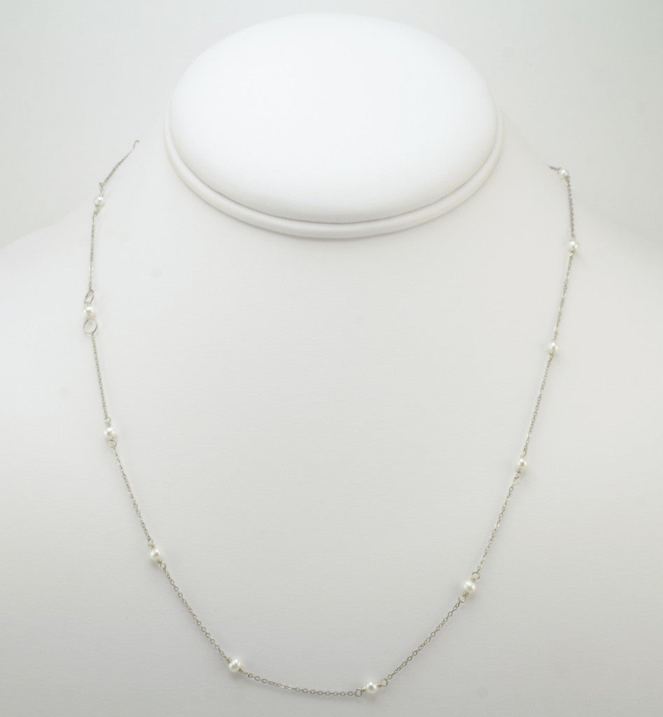 White Pearls Bead Chain Necklace