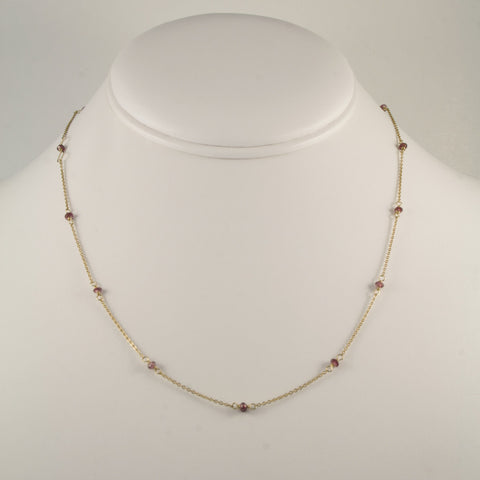 Champagne Garnet Bead Chain Necklace
