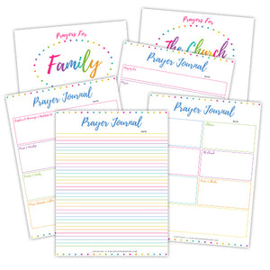 Prayer Journal Binder in Rainbow Dots {118+ pages}