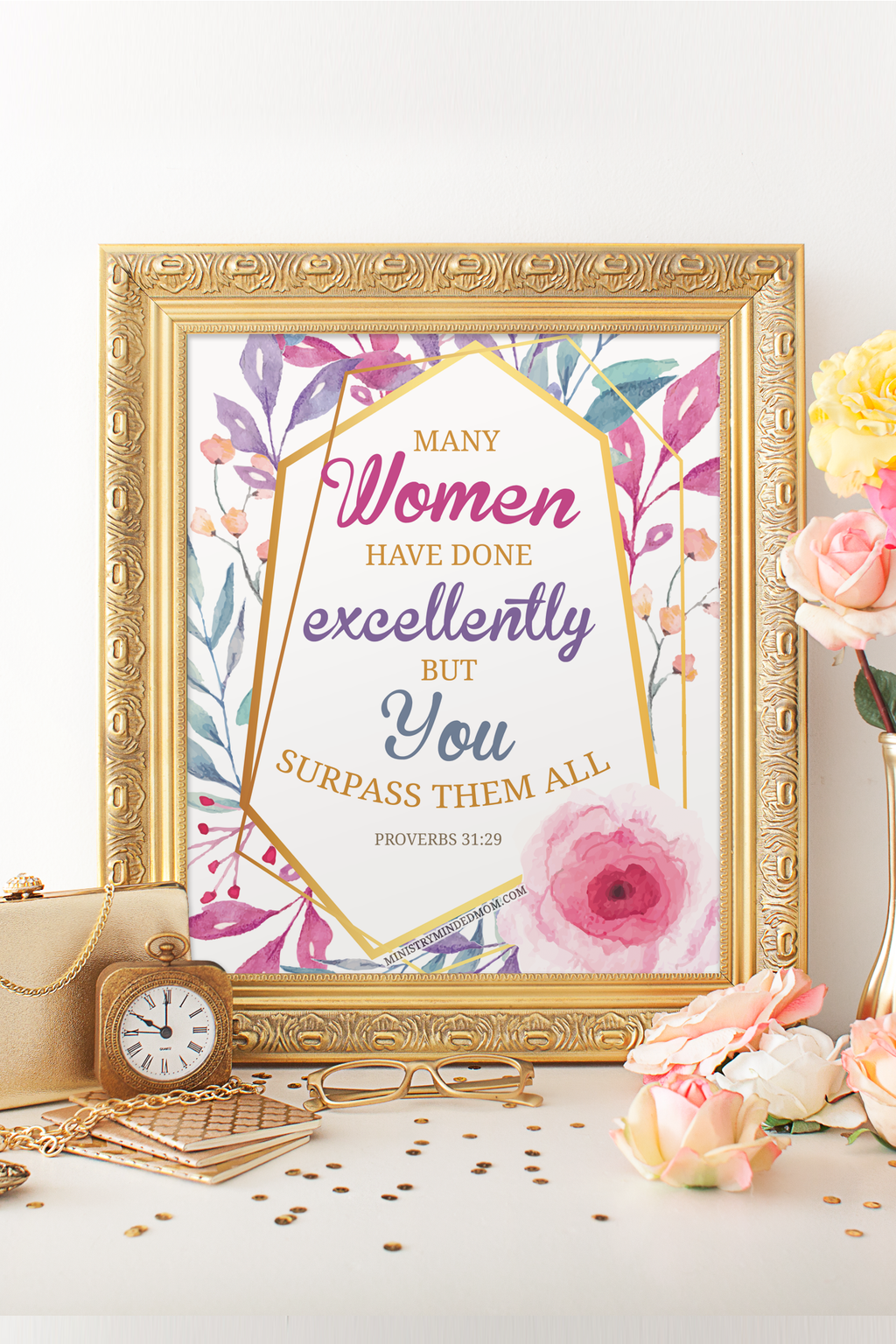 Proverbs 31:29 Geometric Floral Scripture Art Printable