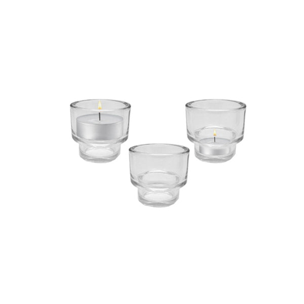 13942 -   Glass Candle Holder Double Use - Clear - 8.4cmx7.5cm