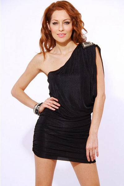 One Shoulder Rhinestone Embellished Dress