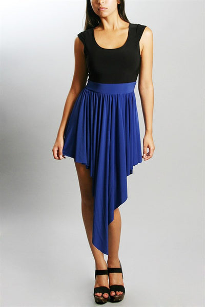 Royal Blue Two Tone Asymmetrical Party Dress