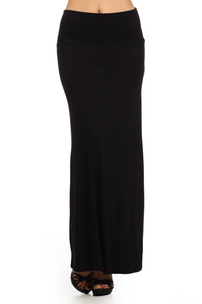 Essential Solid Black Maxi Skirt