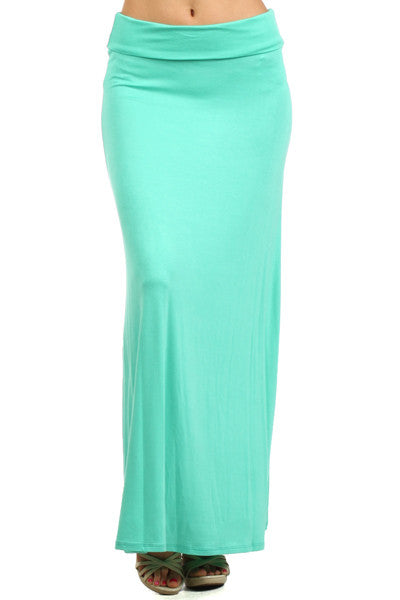 Essential Solid Mint Maxi Skirt
