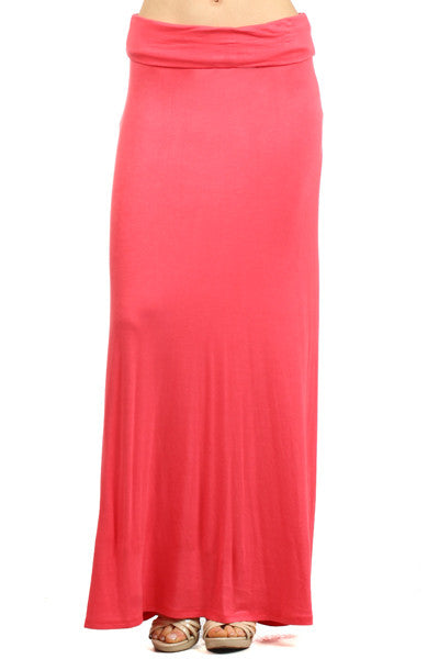 Essential Solid Coral Maxi Skirt