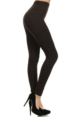 Nordic Star Print Fleece Leggings in Brown