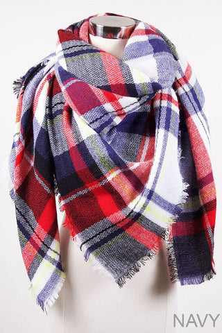 Tartan Plaid Oversized Blanket Scarf in Navy/Red