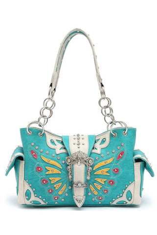 * Turquoise Western Butterfly Patch Embroidery Belt Buckle Deco Two Side Pocket Satchel Bag  M