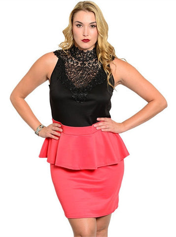 Lace Neckline Peplum Plus Fashion Dress in Black/Coral