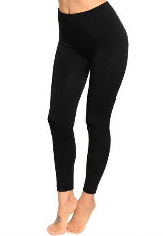 Solid Fleece Lined Winter Leggings