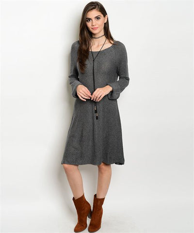 * Aspen Romance Knit Sweater Dress in Charcoal