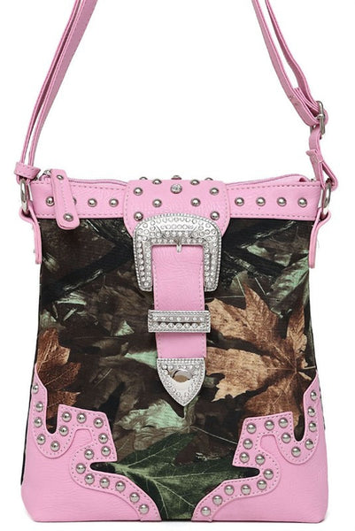 Camouflage Print Rhinestones Buckle Deco Messenger Bag in Light Pink M