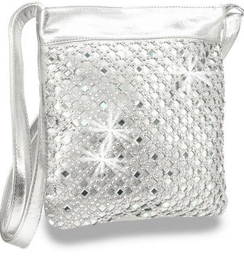 Silver Rhinestone Design Layered Cross Body Sling Handbag M