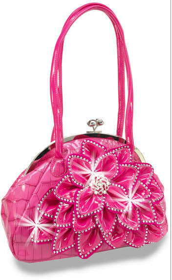 Fuchsia Rhinestone Accented Layered Petal Patent Fashion Handbag M