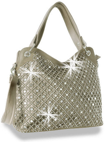 Rhinestone and Mirror Accented Layered Pewter Fashion Handbag