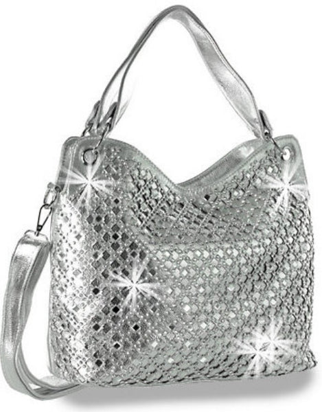 Rhinestone and Mirror Accented Layered Silver Fashion Handbag