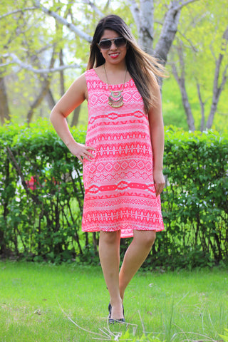 Tribal Mix Up Fashion Dress in Coral/White