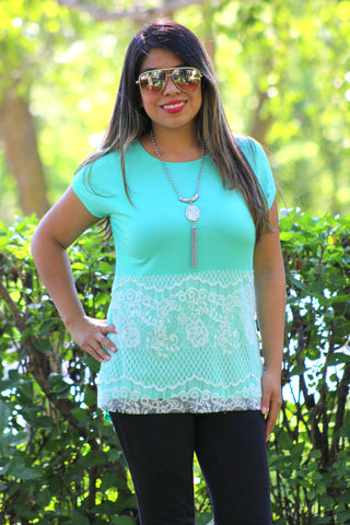 Lace Divine Overlay Knit Top in Mint/White