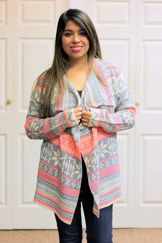 Snowflake Cardigan in Pink/Gray